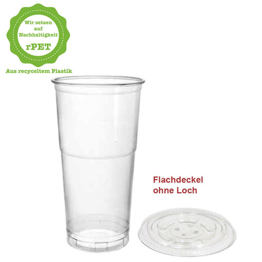500ml r-PET Clear Cup Smoothie Shake Bubble Tea Obst Becher, Flach-Deckel